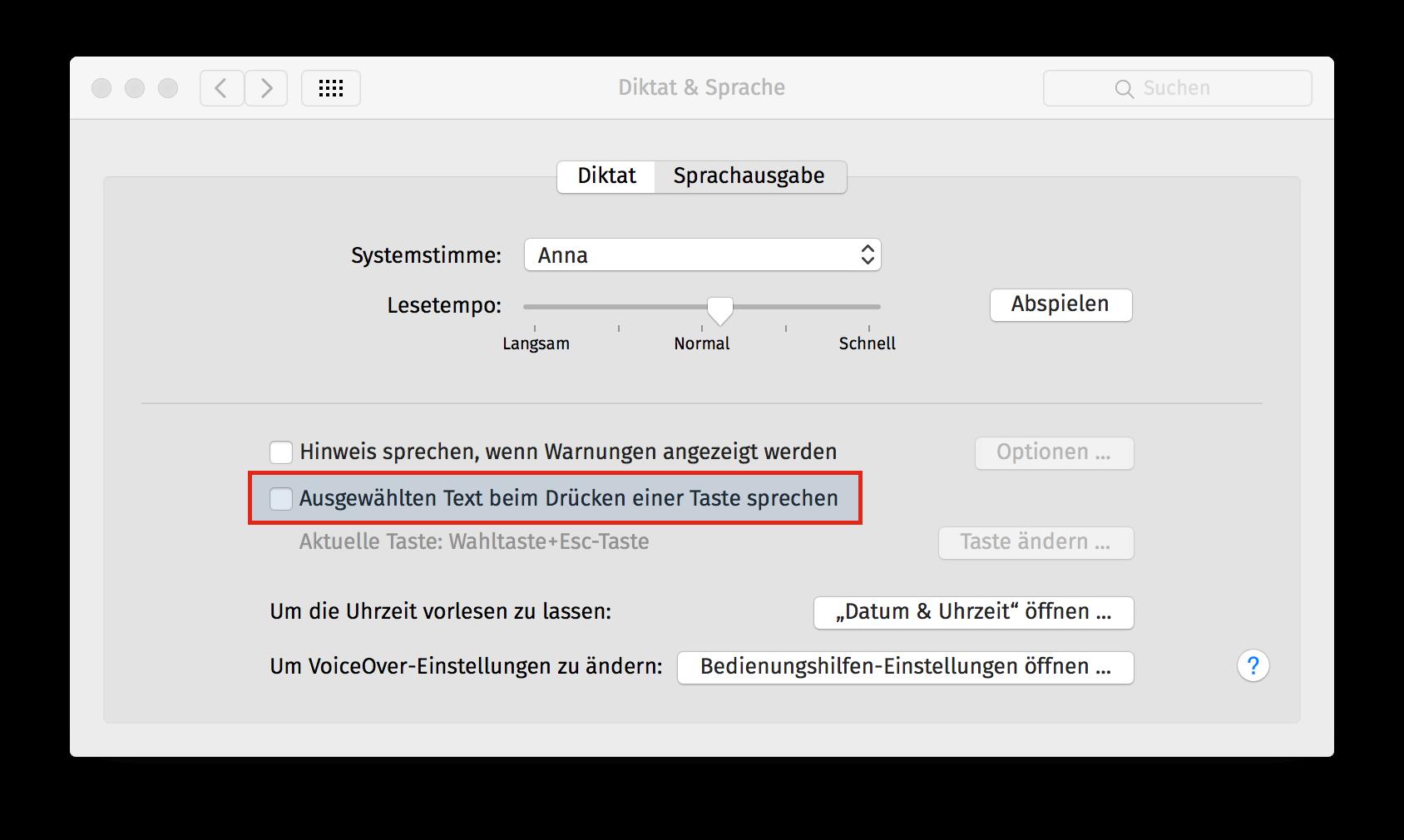 Text-zu-Sprache OSX Schritt 3