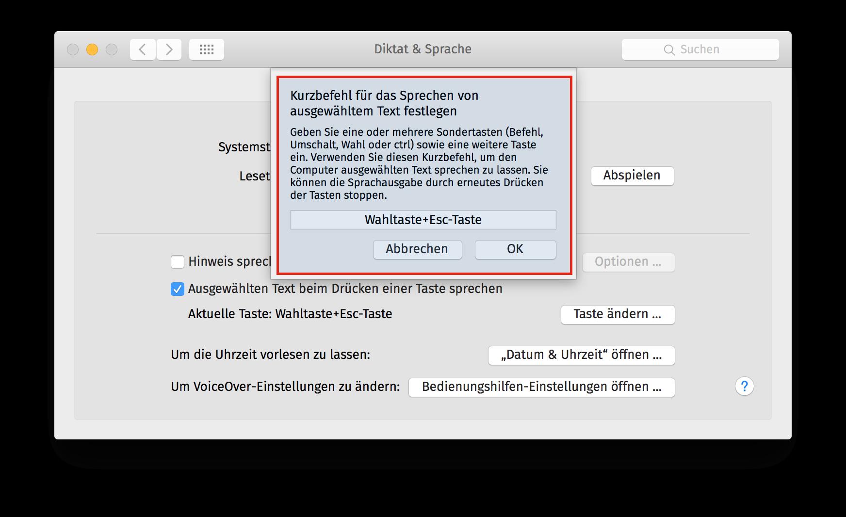Text-zu-Sprache OSX Schritt 5